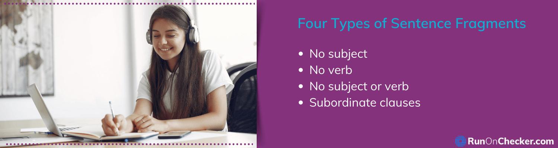 sentence fragment types